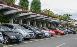 Ein Parkplatz in Nanning, China stockfotos
