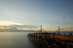 Ein Pier im Bau Stockfotografie