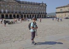 Ein Pilger in Santiago Lizenzfreie Stockbilder