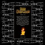 Ein Plakat auf dem Thema des Halloween-Feiertags Eine Skizze der Einladung oder anderer Karten mit Raum für Ihren Text stock abbildung