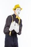 Ein Porträt eines Mannes, ein Schauspieler, eine Pantomime, ein Mann macht a Lizenzfreie Stockfotos