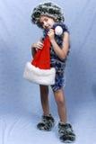 Ein Portrait des Weihnachtsmädchens. Lizenzfreie Stockfotos
