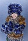 Ein Portrait von Mädchen Weihnachten. Lizenzfreie Stockfotos