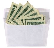 ein Postumschlag, Geld, bereitete das Papier auf, getrennt   Stockbild