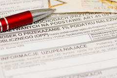 Ein Prozent für Organisation des allgemeinen Nutzens, polnisches Steuerformular Lizenzfreies Stockbild