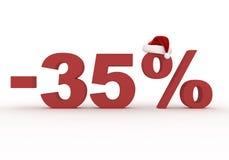 Ein 35-Prozent-Rabatt unterzeichnen herein den Hut von Santa Claus Lizenzfreie Stockbilder