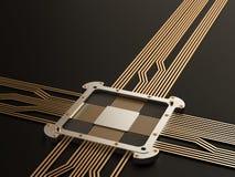Ein Prozessor (Mikrochip) verband das Erhalten und das Senden von Informationen untereinander Konzept der Technologie und der Zuk Stockfotografie