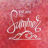 Ein quadratischer Vektorhintergrund mit einer Seewelle Entweichen zum Sommer Eine Schablone für ein Plakat, Karte, Flieger lizenzfreie stockbilder
