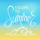 Ein quadratischer Vektorhintergrund mit einer Seewelle Entweichen zum Sommer Eine Schablone f?r ein Plakat, Karte, Flieger lizenzfreie stockbilder