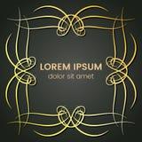 Ein quadratisches goldenes Monogrammelement auf einem dunklen Hintergrund Lizenzfreie Stockfotos