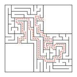 Ein quadratisches Labyrinth Einfache flache Vektorillustration lokalisiert auf weißem Hintergrund Mit einem Platz für Ihr Bild Lizenzfreie Abbildung