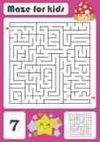 Ein quadratisches Labyrinth Entwicklungsspiel für Kinder Auch im corel abgehobenen Betrag Farbdesign mit netten Karikaturen Stock Abbildung