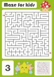 Ein quadratisches Labyrinth Entwicklungsspiel für Kinder Vektorabbildung getrennt auf weißem Hintergrund Farbdesign mit nettem Wa Stock Abbildung