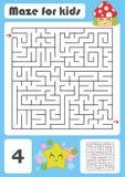 Ein quadratisches Labyrinth Entwicklungsspiel für Kinder Vektorabbildung getrennt auf weißem Hintergrund Farbdesign mit nettem Wa Lizenzfreie Abbildung