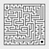 Ein quadratisches Labyrinth mit einem schwarzen Anschlag Ein interessantes Spiel für Kinder und Erwachsene Eine einfache flache V Stock Abbildung