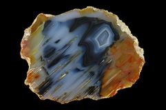 Ein Querschnitt des Achatsteins Stockfotografie