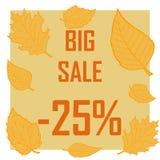 Ein Rabatt von fünfundzwanzig Prozent umgeben durch Herbstlaub auf einem braunen Hintergrund Herbstverkauf, Verkauf, billig Stockfotos
