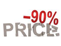 Ein Rabatt von 90% für den gebrochenen Abziehbildpreis Stockfotografie