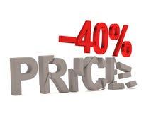 Ein Rabatt von 40% für den gebrochenen Abziehbildpreis Lizenzfreies Stockbild