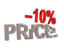 Ein Rabatt von 10% für den gebrochenen Abziehbildpreis Stockfotografie