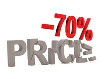 Ein Rabatt von 70% für den gebrochenen Abziehbildpreis Stockfoto