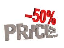Ein Rabatt von 50% für den gebrochenen Abziehbildpreis Stockfotografie