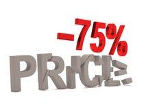 Ein Rabatt von 75% für den gebrochenen Abziehbildpreis Stockfoto