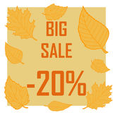 Ein Rabatt von zwanzig Prozent umgeben durch Herbstlaub auf einem braunen Hintergrund Herbstverkauf, Verkauf, billig Stockfotografie