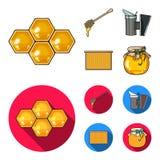 Ein Rahmen mit Bienenwaben, ein Schöpflöffel Honig, ein fumigator von den Bienen, ein Glas Honig Gesetzte Sammlungsikonen des Bie Stockfoto