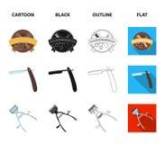 Ein Rasiermesser, ein mechanischer Haarscherer, ein Lehnsessel und andere Ausrüstung für einen Friseur Gesetzte Sammlungsikonen d Lizenzfreie Stockfotos