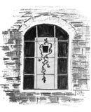 Ein raues abstraktes Bild eines Fensters mit einer Blume in einem Topf Zeichnung des Baums auf einem wei?en Hintergrund stock abbildung