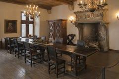 Ein Raum in mittelalterlichem Vianden-Schloss, die Schweiz lizenzfreies stockbild