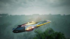 Ein Raumschiff, das über einen unbekannten grünen Planeten fliegt Ein futuristisches Konzept eines UFO Wiedergabe 3d stockfotos