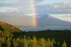 Ein Regenbogen über Schnee bedeckte Berge island Lizenzfreie Stockfotos