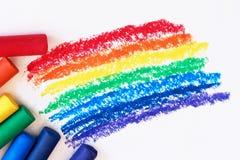 Ein Regenbogen gezeichnet mit Rotem, Orange, Gelbem, Grünem, Blauem, Indigo und purpurrote Zeichenstifte lizenzfreies stockfoto