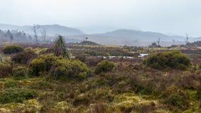 Ein regnerischer Tag am Ausgangspunkt der wandernden Überlandbahn im Wiegen-Tal Lizenzfreie Stockfotos