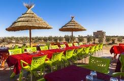 Ein Restaurant in Ksar von AIT-Ben-Haddou, Marokko Stockfotografie