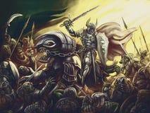 Ein Ritter auf einem Drachen gegen eine Armee von Dämonen stock abbildung