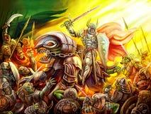 Ein Ritter reitet einen Drachen auf eine Menge von Butzköpfen stock abbildung