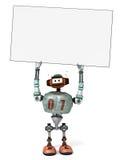 Ein Roboter, der ein leeres Plakat über seinem Kopf anhält Lizenzfreie Stockfotos