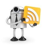 Ein Roboter, der ein Zeichen mit Wi-Fi hält Lizenzfreie Stockbilder
