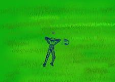 Ein Roboter liegt auf grünem Gras und betrachtet einen Schmetterling Vektor Abbildung