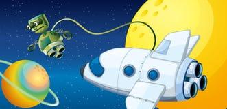 Ein Roboter nahe einem Planeten mit einer Bahn lizenzfreie abbildung