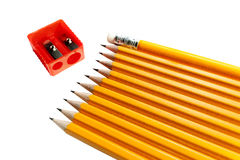 Ein rohes von den Bleistiften und von Radiergummi izolated Lizenzfreies Stockbild