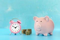 Ein rosa Schweinsparschwein auf einem blauen Hintergrund Ist in der Nähe ein kleiner rosa Kühlschrank und ein Stapel drei von Mün Stockfoto