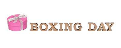 Ein Rose boxe mit Wörtern 26. DEZEMBER, lokalisiert auf Weiß Lizenzfreie Stockfotos