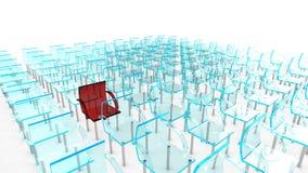 Ein Rot vieler Stühle Stockfotografie