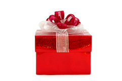 Ein roter Geschenkkasten stockbild