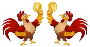 Ein roter Hahn, der Dollarsymbol halten und ein anderer roter Hahn Stockfotografie
