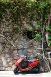 Ein roter Roller nahe einer Wand mit Baumniederlassungen und -blättern in Positano, Amalfi-Küste Stockfoto